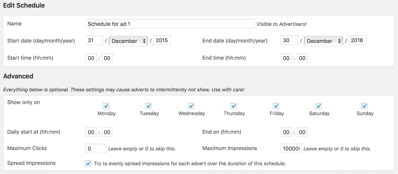 creating schedules in adrotate ajdg solutions