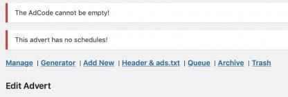 Advert status in AdRotate Professional