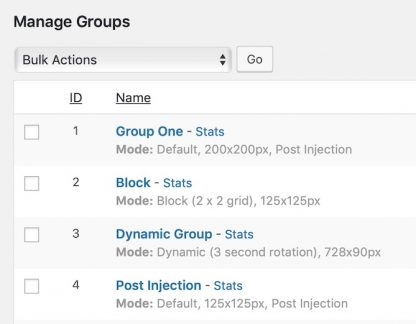 Manage groups in AdRotate Professional
