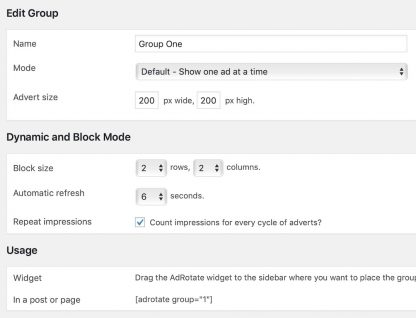Create groups in AdRotate Professional