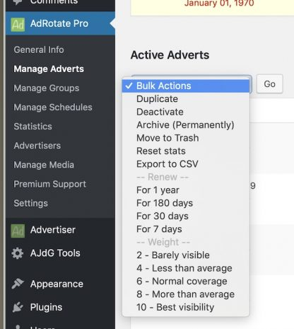Menu & Bulk actions in AdRotate Professional