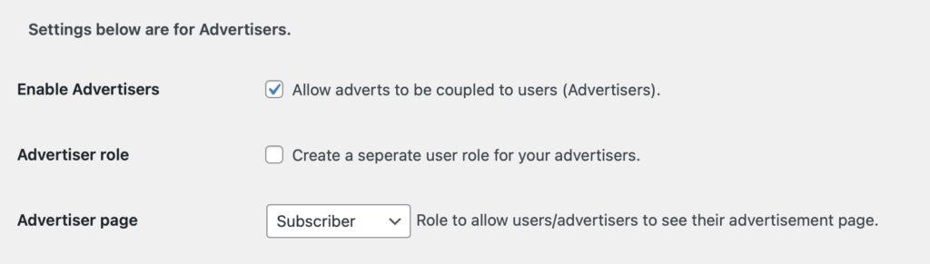 Advertiser settings